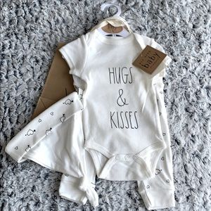 Rae Dunn Hugs & Kisses Baby Outfit with Gift Bag